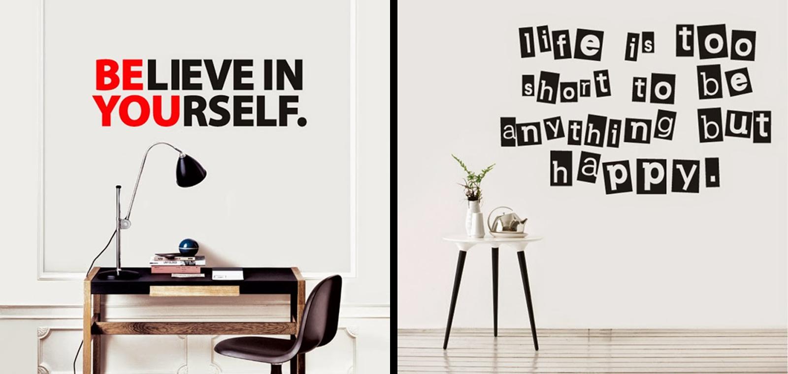 Ideas originales y cosas bonitas decorando con vinilos - Vinilos decorativos frases ...