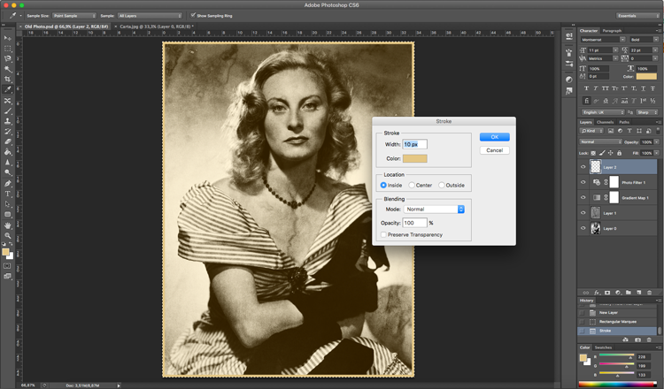 Photoshop efecto antiguo borde