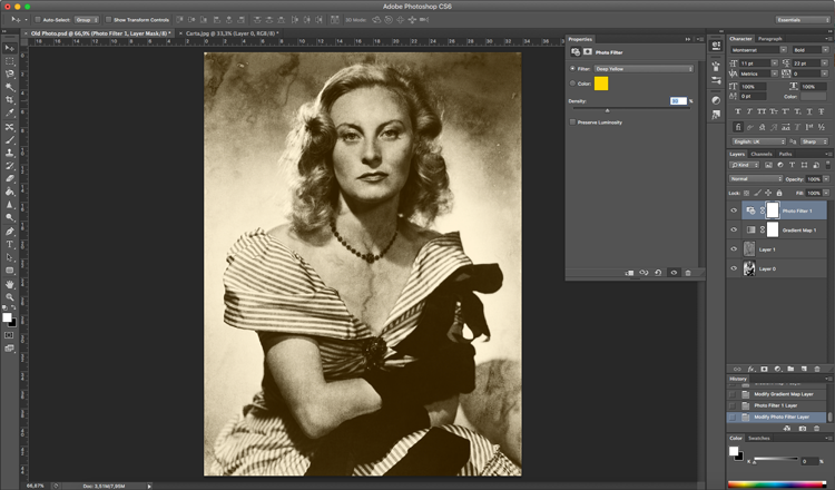 Photoshop efecto antiguo degradados