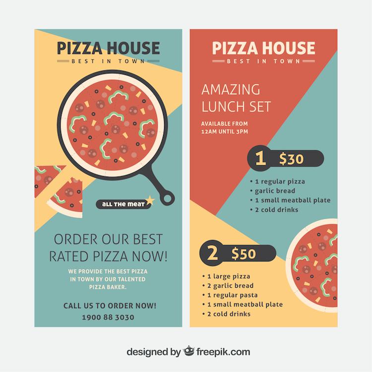 Folletos para pizzerías