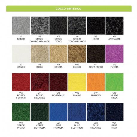 Colori disponibili per il cocco sintetico. . Il prodotto viene realizzato con questi colori: consulta questa palette per la tua scelta cromatica e indica nella note dell'ordine quali sono i codici colore da utilizzare.
