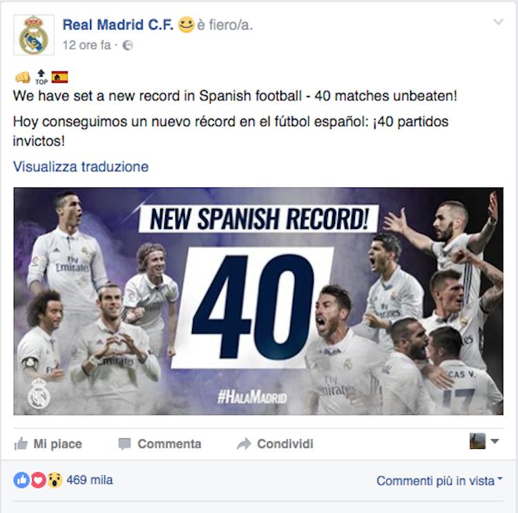 Real Madrid record di nuovi follower nel 2016