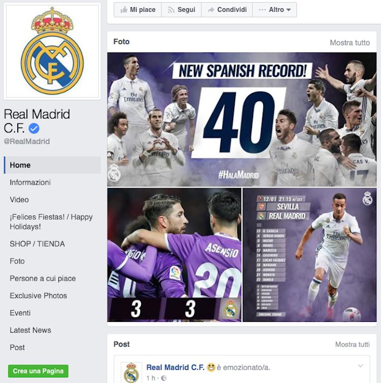 Real Madrid squadra con più follower nel 2016