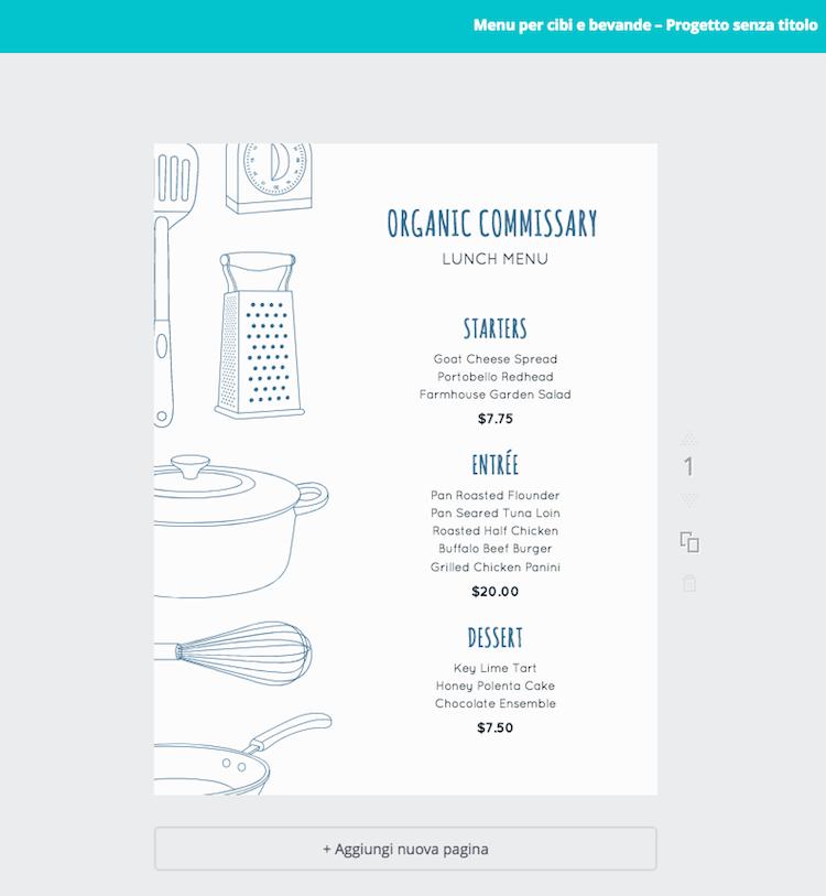 Come creare menu per ristorante con Canva