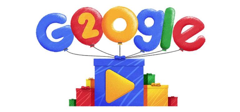 google compie 20 anni e si fa gli auguri