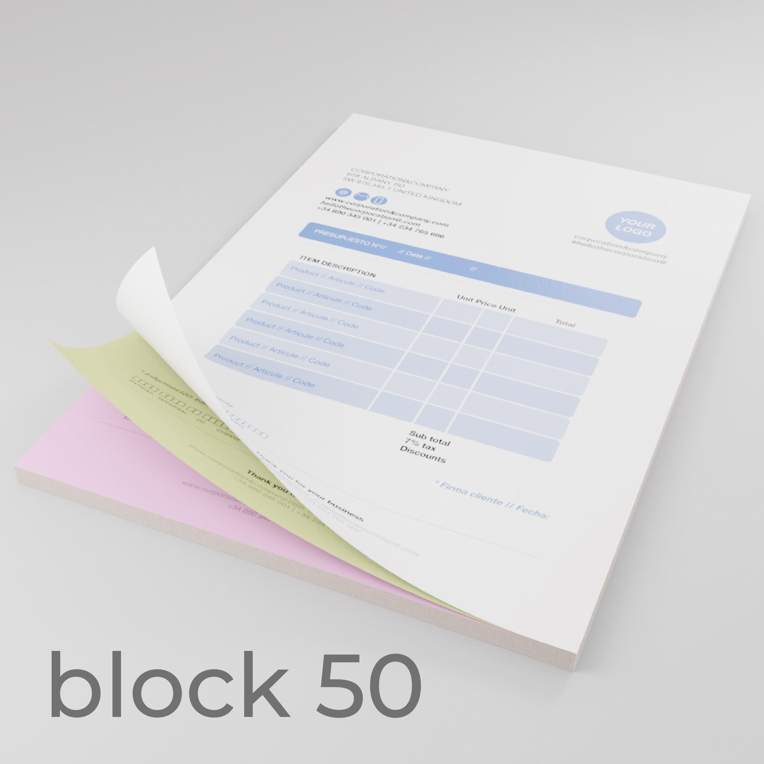 moduli autoricalcanti A4 copiativa 80gr In blocchi da 50 fascicoli