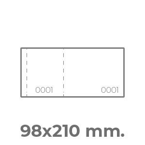 biglietti lotteria 98x210 orizzontale 2 numerazioni e 2 perforazioni