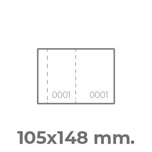 biglietti lotteria A6 orizzontale 2 numerazioni e 2 perforazioni